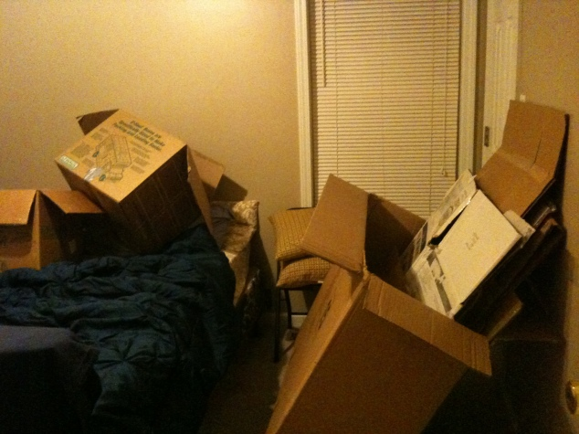 a room full of empty boxes