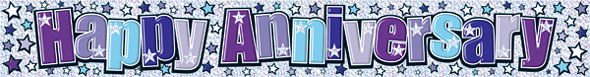 An anniversary banner in blue and purple
