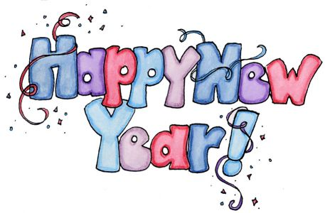 Blue, Pink, Purple Alternating Bubble Letters spelling happy new year!