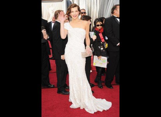 Milla Jovovich in her 2012 Oscars dress