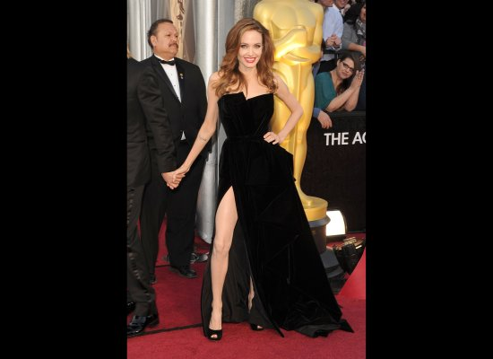 Angelina Jolie in her 2012 Oscar's dress by Versace
